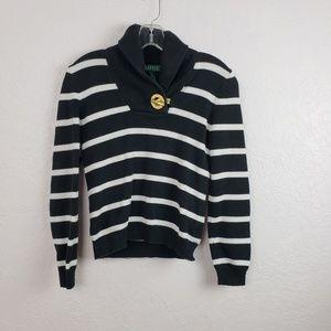 Ralph lauren   striped button sweater XS